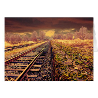 Empty Train Tracks Blank Card