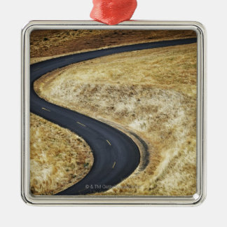 Empty winding paved road metal ornament