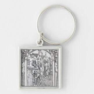 Emptying the Chamber Pots Silver-Colored Square Key Ring