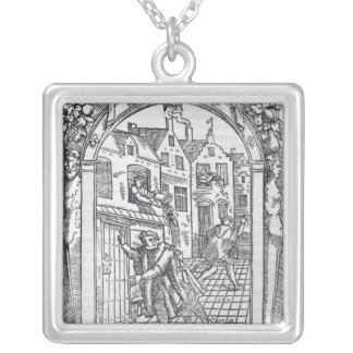 Emptying the Chamber Pots Silver Plated Necklace