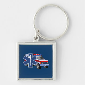 EMS Ambulance Silver-Colored Square Key Ring