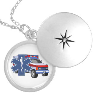 EMS Ambulance Silver Plated Necklace