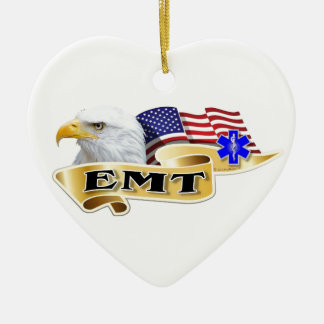 EMT American Pride Eagle Flag Ceramic Ornament