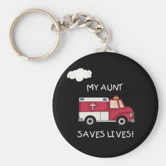 EMT Aunt Saves Lives Basic Round Button Key Ring