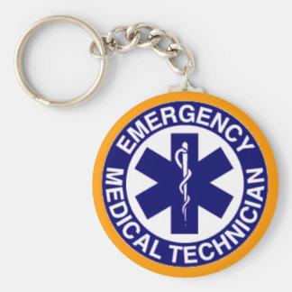 EMT Emergency Medical Technician Basic Round Button Key Ring