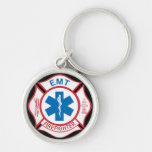 EMT Firefighter Symbol Silver-Colored Round Key Ring