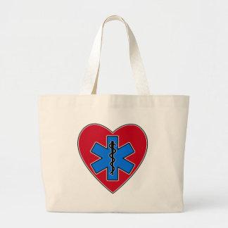 EMT Heart Large Tote Bag