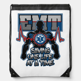 EMT Saving One Live at a Time Drawstring Bag