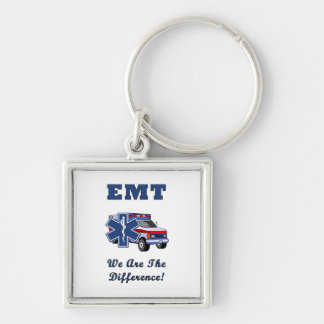 EMT We Are The Difference Silver-Colored Square Key Ring