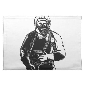 EMT Wearing Hazmat Suit Scratchboard Placemat