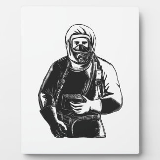 EMT Wearing Hazmat Suit Scratchboard Plaque