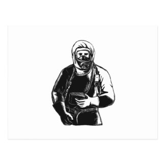 EMT Wearing Hazmat Suit Scratchboard Postcard