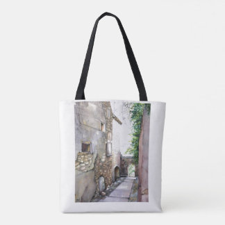En Grignan watercolor image on tote bag