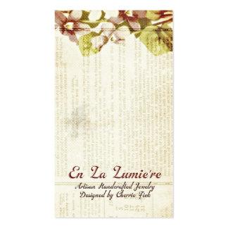 En La Lumiere Earring Card September 2012 Business Card Templates