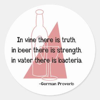 En Vino Veritas -retro Round Sticker