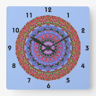 Enameled Mosaic Pattern in Coral Red and Periwinkl Wallclock
