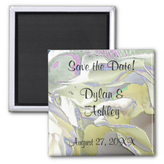 Enameled White Roses Save the Date! Refrigerator Magnets