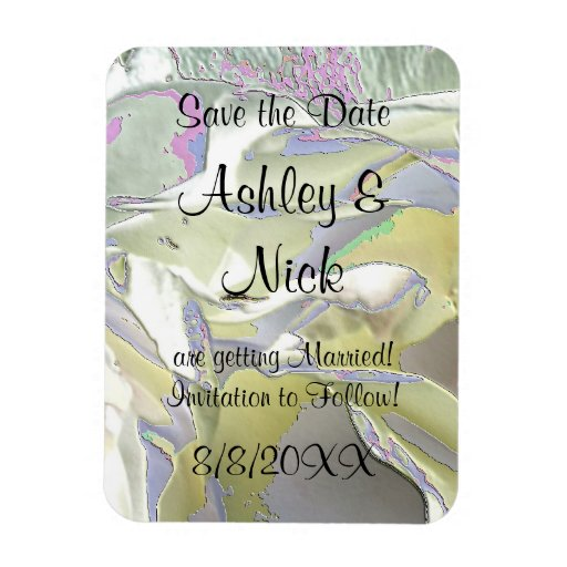 Enameled White Roses Save the Date! Vinyl Magnets