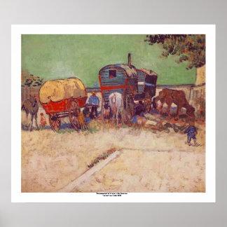 Encampment of Gypsies by Vincent van Gogh Poster