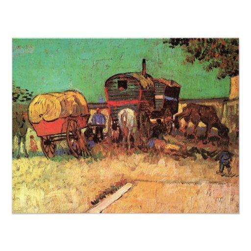 Encampment of Gypsies w Caravans; Vincent van Gogh Personalized Invite