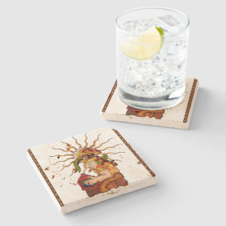 Encantador De Serpientes AZTEC Stone Beverage Coaster