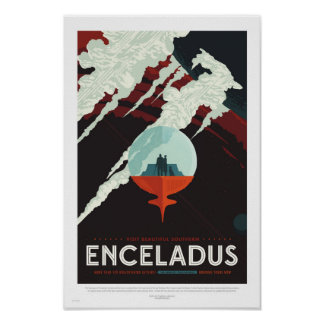 Enceladus - Retro NASA Travel Poster