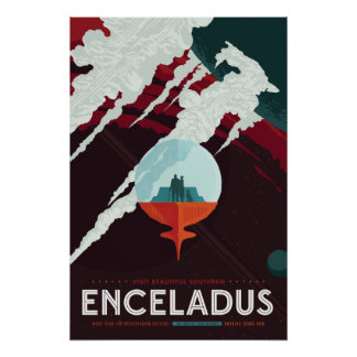 Enceladus Space Travel Poster
