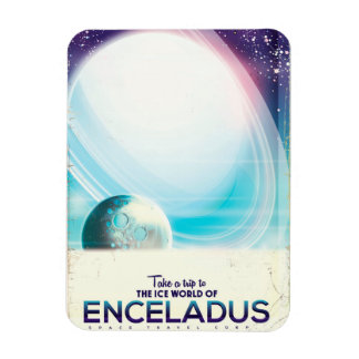 Enceladus Space travel vintage poster Magnet