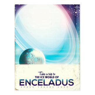 Enceladus Space travel vintage poster Postcard