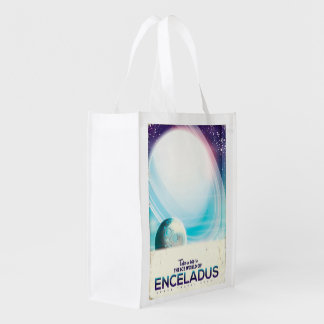 Enceladus Space travel vintage poster Reusable Grocery Bag