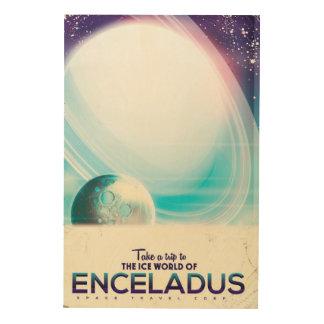 Enceladus Space travel vintage poster Wood Print