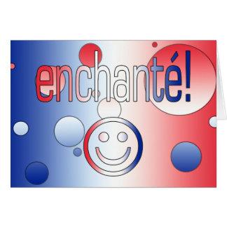 Enchanté! French Flag Colors Pop Art Card