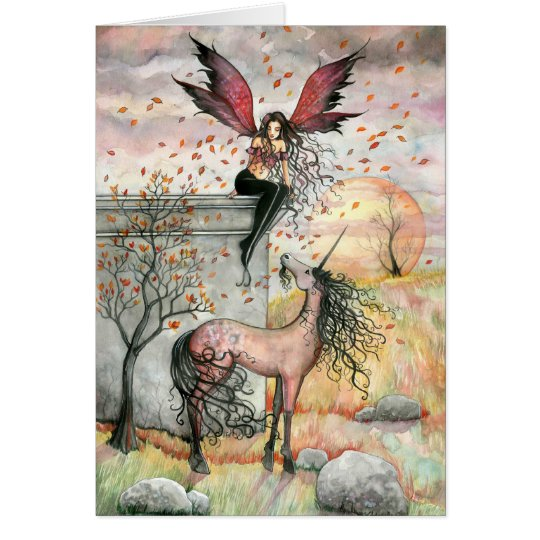 Enchanted Autumn Fairy Unicorn Card