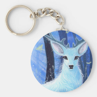 """""""Enchanted by Moonlight"""" White Stag Keyring Basic Round Button Key Ring"""