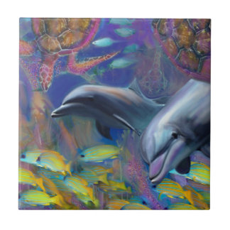 Enchanted Dolphins Small Square Tile