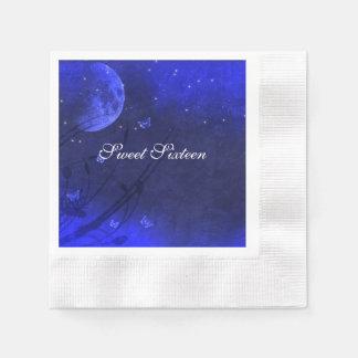 Enchanted Evening Blue White Sweet Sixteen Custom Disposable Serviette