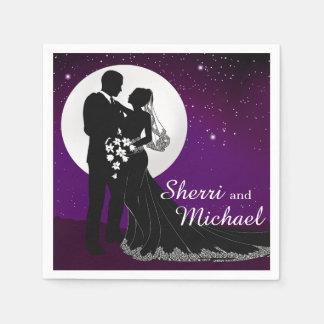 Enchanted Evening Nighttime Wedding   purple Disposable Napkin