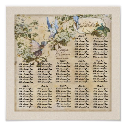 Enchanted Faeries Fairies Reception Seating Chart Poster