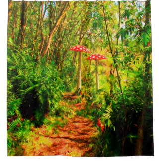 Enchanted fairytale forest with mushrooms shower curtain