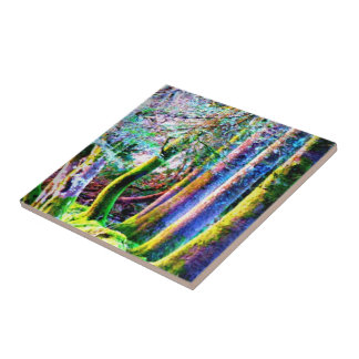 Enchanted Forest Abstract Art Tile