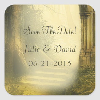 Enchanted Forest Arch Save The Date Square Sticker