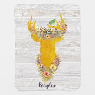 Enchanted Forest, golden buck, birds nest, custom Baby Blanket
