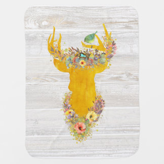 Enchanted Forest, golden buck, birds nest, flowers Baby Blanket