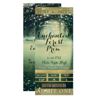 Enchanted Forest Green Blue Prom VIP Party Ticket Card