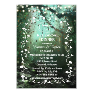 Enchanted Forest Lights Rustic Rehearsal Dinner Card