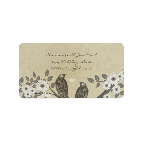 Enchanted Forest Love Bird Wedding Address Label
