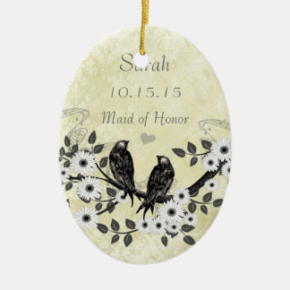Enchanted Forest Love Bird Wedding Ceramic Ornament