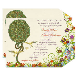 Enchanted Forest Patchwork Floral Fairy Tale Tree Card