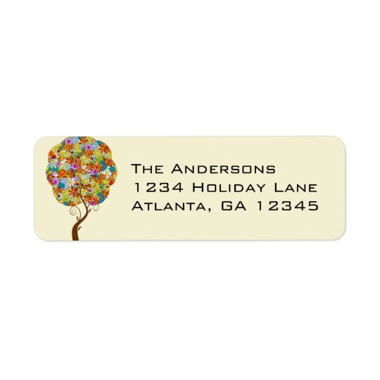 Enchanted Forest Patchwork Floral Fairy Tale Tree Return Address Label