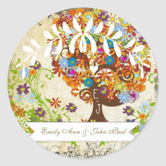 Enchanted Forest Side Branch Wedding Classic Round Sticker